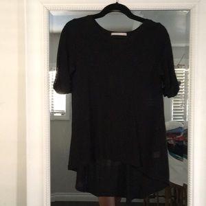 Tops - Hi low knit sweater short sleeve in black